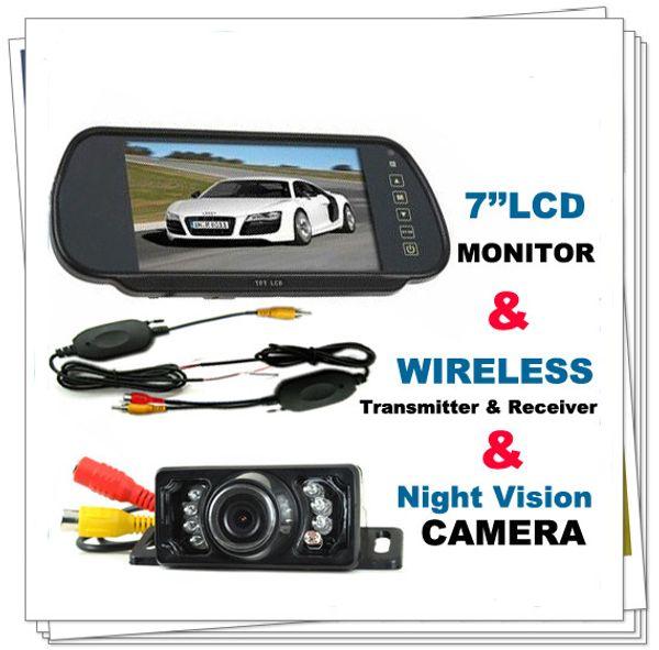 "best selling 7"" Car LCD Monitor Mirror+Wireless IR Reverse Car Rear View Backup Camera Kit"