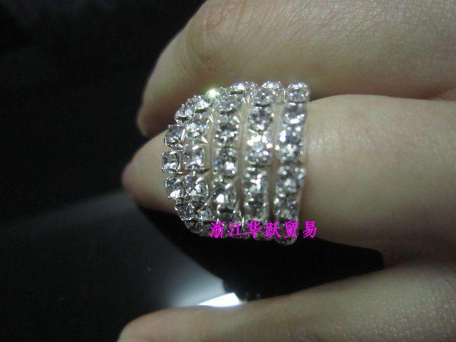 fashion crystal single row rings women crystal Rhinestone Cute Stretch Wedding Rings 24pcs