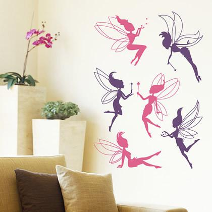 Fairy Wall Art removable wall decal sticker flower fairy girl room nursery wall