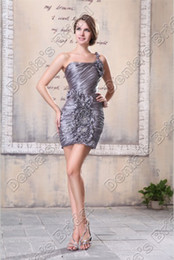 Wholesale one shoulder sheath - Silver Sexy Pleated Cocktail Homecoming Dresses Ruffled Beaded Flowers Short Actual Real Images M26