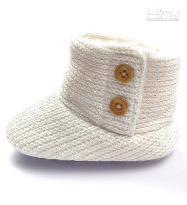 أحذية الثلوج الرضع حديثي الولادة بنين بنات أولاد أحذية القدم التمهيد أبيض أسود الصوف الكروشيه التمهيد