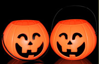 Wholesale Light Bucket Bar - Halloween supplies bar decoration small bend eye pumpkin bucket pumpkin pot pumpkin lights