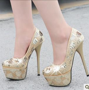 Wholesale New Arrival Super High Heels Handmade Sequined Platform ...