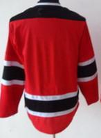 Wholesale Wholesale Blank Football Jersey - New Jersey Hockey Jerseys Jersey Winter Sports Wear Blank jerseys Red Men jersey Football 48-56