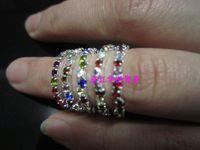 Wholesale Single Row Rhinestone Banding - colorful crystal Rhinestone Cute Stretch Wedding Rings women crystal single row rings