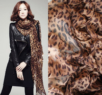 Wholesale Ladies Leopard Print Scarf - New Fashion Lady Chiffon Golden & Printed Leopard Scarf Scarves Leopard grain widened edition chiffo 30