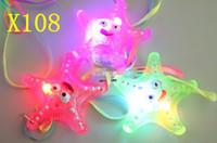 Wholesale Starfish Christmas Lights - Starfish LED light necklace flashing pendant creative birthday gift wedding party necklace Christmas