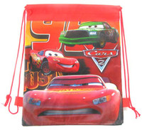 Wholesale Cars Drawstring Backpack - wholesale 60 pcs NEW Cartoon Red Car Drawstring Backpack Cute bag Gift