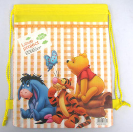 Wholesale Gift Winnie Pooh - wholesale 60 pcs NEW Cartoon Cute Winnie the pooh Drawstring Backpack Cute bag Gift