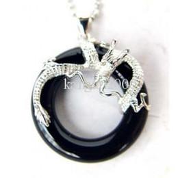 Stunning black Jade 925 Silver Dragon Pendent