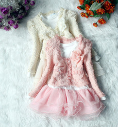 Wholesale Wholesale Baby Clothings - Girls Dresses Suits Lovely Flowers Tops Puff Dress Baby Clothings