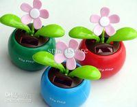 Wholesale Novelty Toys Car Decor - Novelty Toys Car Decor Flap Flip Solar Powered Flower Flowerpot Swing Solar Dancing Toy Ornaments
