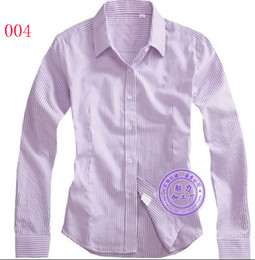 Wholesale Solid Colored Shirts - Purple stripe Top quality Women's Shirts Long Sleeve shirt Stripes  Solid Colored 8869