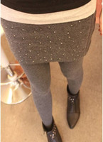 Wholesale Dots Leggings Ladies - 100% Wool Cashmere Women's Ladies' Fake Mini Skirt Leggings Warm Slim Stretchy Tights