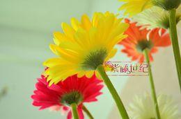 Wholesale Artificial Pink Gerbera - Artificial silk chrysanthemum flowers simulation Gerbera wedding home garden decorative 20pcs 10pcs