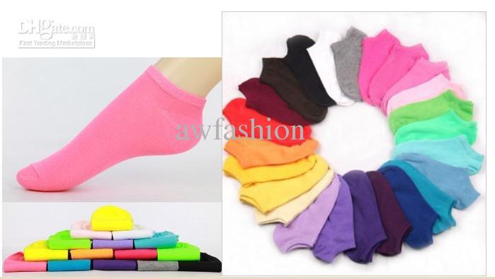 도매 - 캔디 색상 100 % 코튼 여자 패션 낮은 컷 발목 크루 슬리퍼 양말