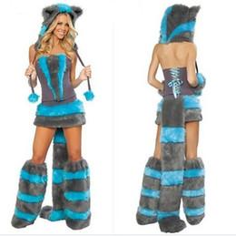 2019 guantes de nylon spandex Sexy Furry Fasching Wolf Cat Cat Costume Cosplay Fancy Halloween Party vestido de maquillaje Coatee cola grande falda guantes casquillo completo Set regalo de Navidad guantes de nylon spandex baratos