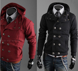 Wholesale Men Double Breast Shirt - Wholesale _ New winter men's fashion double-breasted hooded Sweat shirts cardigan Men Hoodies & Sweatshirts 5 colors M-XXL 1697