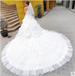 Wholesale Strapless Big Long Wedding Dresses - new 2012 Lace Super Deluxe big long trailing wedding dress stereo lotus leaf Sweet Princess Dress