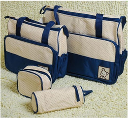 Wholesale Mummy Bag Set Pieces - FreeshippingMother infanticipate mummy Babies bags nappy bag multifunctionaldouble-shoulder cross-body 5 piece set messenger bag