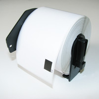 Wholesale Roll Labels Prices - 4 x Rolls DK-11202 with black plastic holder, Brother Compatible Labels, DK 11202, DK 1202