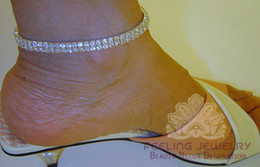 Wholesale Stretchy Rhinestone Bracelets - Two rows rhinestone anklet 2 rows crystal stretchy ankle bracelet two-row ankle chain 12pcs lot