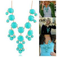 Wholesale Gem Bubble Necklace - fashion Jewelry New Women Fashion Resin Gem Bubble Bib Statement Necklace 25colors 12pcs lot