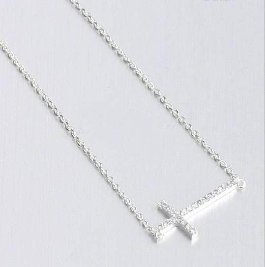 30 unids / lote con incrustaciones de Cristal de Oro de Plata Horizontal Collar de Cruz Lateral Lado transversal tamaño: 18 * 45mm