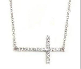 Wholesale Horizontal Cross Pendant Wholesale - 30pcs lot Inlaid Crystal Gold & Silver Horizontal Sideways Cross Necklace Side cross size:18*45mm