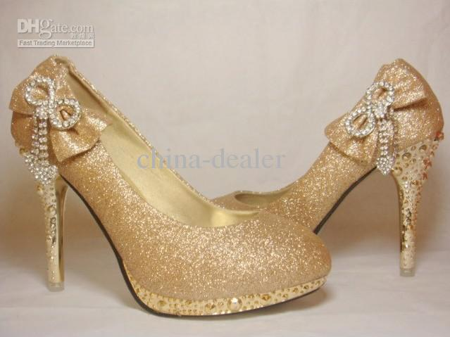 Bride Bowknot Crystal Wedding Shoes9cm Tall,Golden,Black,Euro Size ...