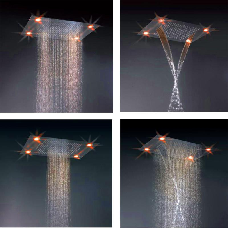 Recessed Ceiling 304 Stainless Steel Led Waterfall Rain Shower Concealed  Rainfall Lighted Showerhead