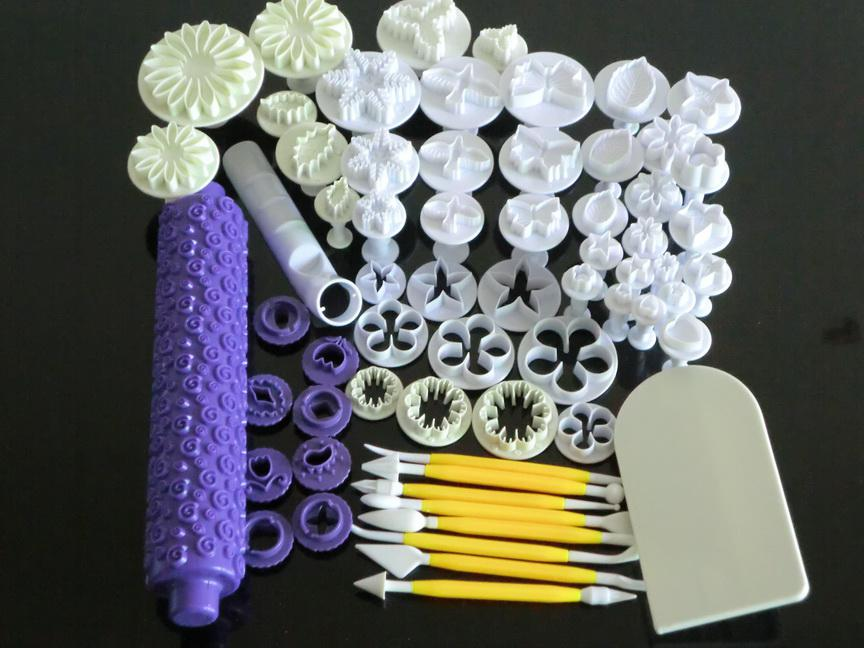 C56 Fondant Embossing Rolling Pin Cake Plunger Cutter Butterfly Doves Sunflower Bladeren Rose Mold Sugarcraft Tools voor Xmas Party C56