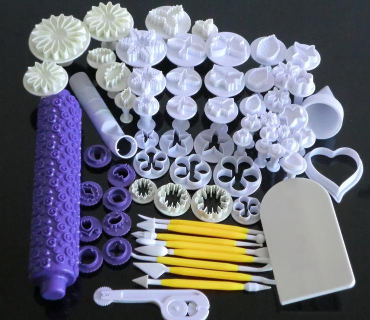 C57 DIY Bakvormen Fondant Embossing Rolling Pin Cake Plunger Cutter Mold Sugarcraft Tools