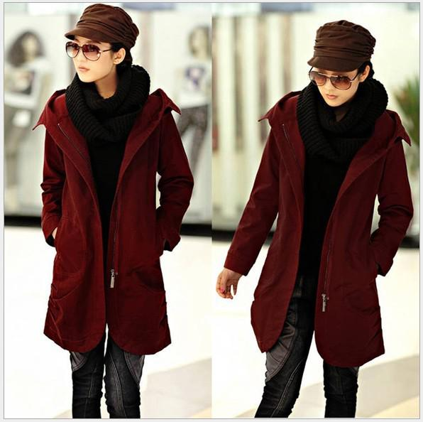 News Trench Coats Women Slim Cotton Hooded Coats for Women Single ...