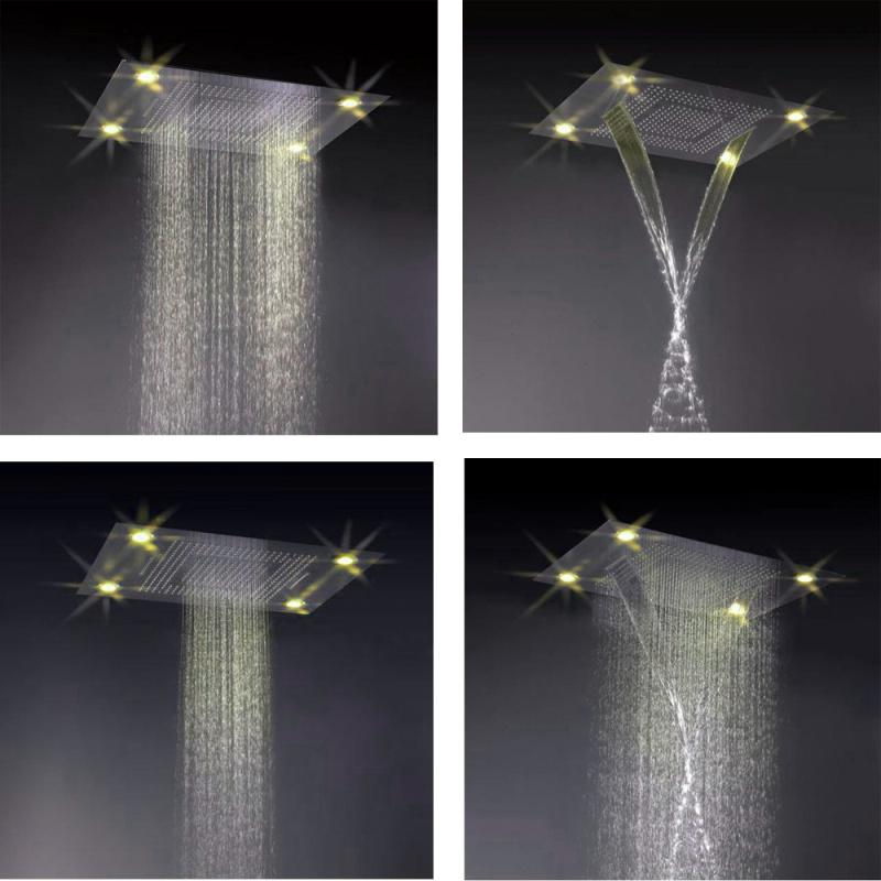 600*800mm Waterfall Rain Led Shower Head 4 Function Rain ...