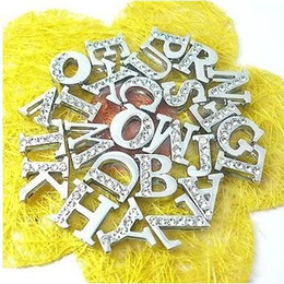 Wholesale Dog Harness Letters - Wholesale 130pcs 8mm A-Z half rhinestone slide letter fit for 8mm wristband pet dog cat collar