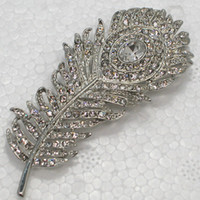 Wholesale Indian Peacock Brooch - Wholesale C384 A Clear Crystal Rhinestone Peacock Feather Pin Brooch Wedding Party Prom Brooches Jewelry gift