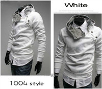 Wholesale Hoodie Chic - FREE SHIPPING CHIC MEN SPECIAL BUTTON HOODIE JACKET 5 COLOURS MENS CLOTHES JACKETS