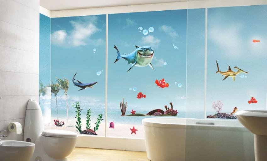 Bathroom Wall Sticker Can Remove Children Room Decor Wall Stick Shaq  Submarine Paradise Size:50*70cm Wall Decals For Baby Wall Decals Baby Boy  From ...