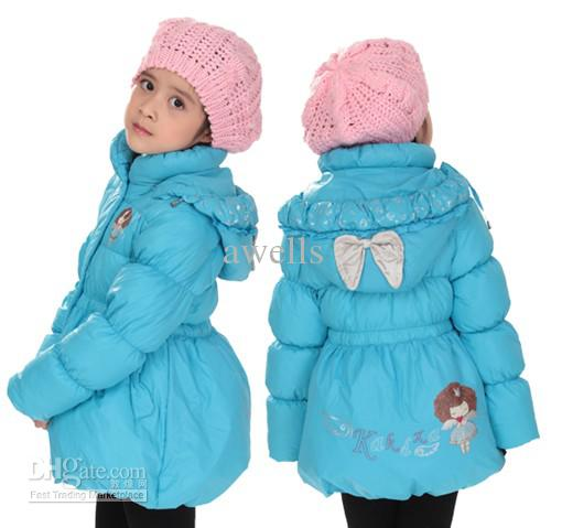 2012 New Girl's Cartoon Bow Down Jacket Winter Warm Children's ...