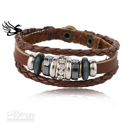 Beautiful Real Leather Bracelets Multilayer Brown Leather