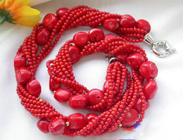Wholesale Massive Jewelry - New Arrive Christmas Gift Jewelry 8Row 20inch AA 4-14mm Natural Red Coral Massive Bead Necklace