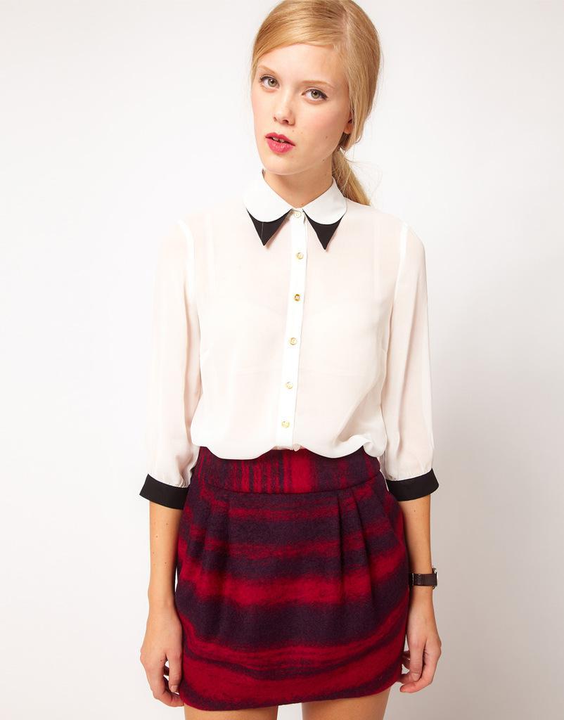 2017 Women Shirt Newest Style Double Collar White Chiffon Shirt ...