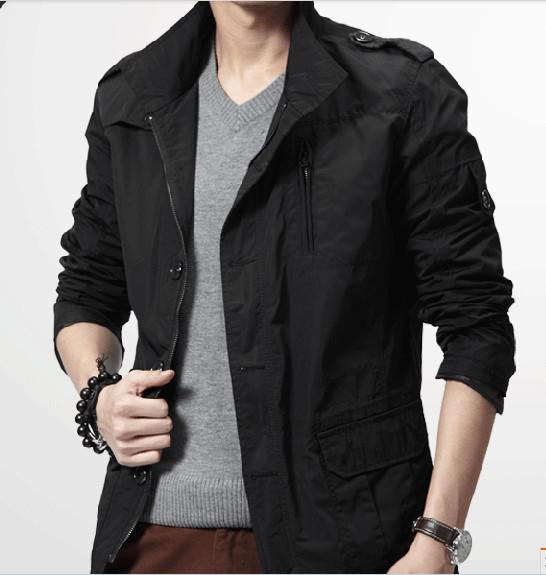 2012 Men&39s Black Jacket Coat Upper Garment Casual Simplicity Stand