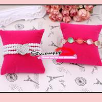 présentoir oreiller noir achat en gros de-Velvet oreiller Bracelet Bracelet Montre Affichage 2 couleurs choisir porte-bijoux noir et rose