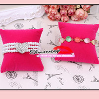 Wholesale Velvet Watch Holder Pillows - Velvet pillow Bracelet Bangle Watch Display 2 color choose black and pink Jewelry Holder
