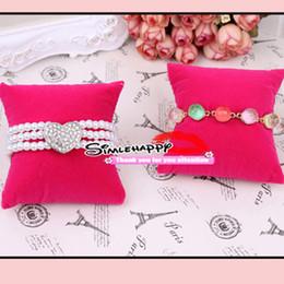 Wholesale black velvet bracelet holder - Velvet pillow Bracelet Bangle Watch Display 2 color choose black and pink Jewelry Holder