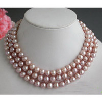 Wholesale Freshwater Necklace Lavender - New Arrive Christmas Gift Jewelry ! 50inch 9-10MM Round Lavender Freshwater Cultured Pearl Necklace