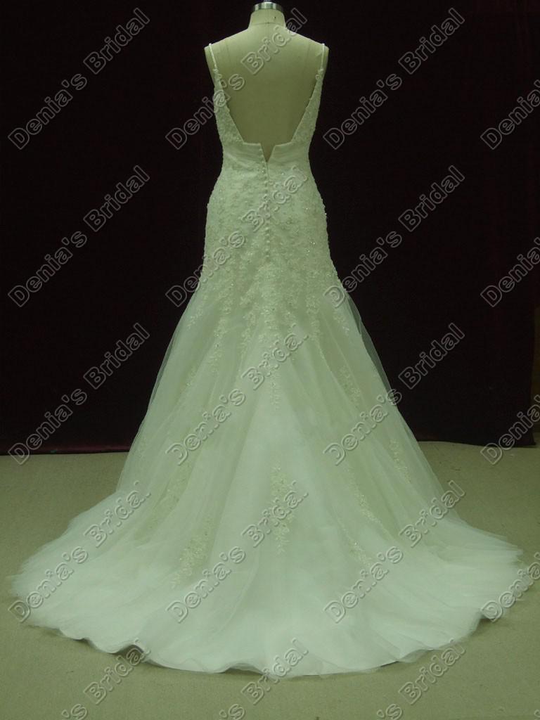 Elfenben Vit Bröllopsklänningar Tulle Mermaid Appliques Pärlor och pärlor Beaded Real Faktiska bilder DB288