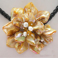 Wholesale Stainless Steel Necklace String - New Arrive Christmas Gift Jewelry 18inch AA 4-20MM yellow Sea Shell & Pearl Basketry Flower Necklace